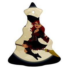 Witch Witchcraft Broomstick Broom Christmas Tree Ornament (2 Sides)