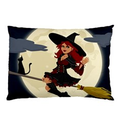 Witch Witchcraft Broomstick Broom Pillow Case (Two Sides)