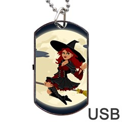Witch Witchcraft Broomstick Broom Dog Tag USB Flash (Two Sides)