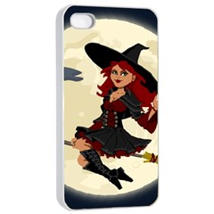 Witch Witchcraft Broomstick Broom Apple iPhone 4/4s Seamless Case (White)