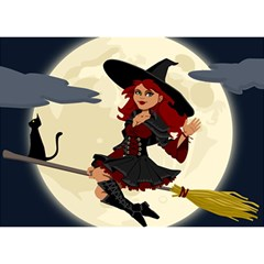Witch Witchcraft Broomstick Broom Birthday Cake 3D Greeting Card (7x5)