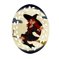 Witch Witchcraft Broomstick Broom Oval Filigree Ornament (2-Side)