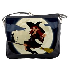 Witch Witchcraft Broomstick Broom Messenger Bags
