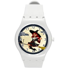 Witch Witchcraft Broomstick Broom Round Plastic Sport Watch (M)