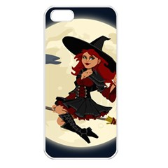 Witch Witchcraft Broomstick Broom Apple iPhone 5 Seamless Case (White)