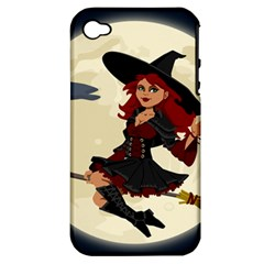 Witch Witchcraft Broomstick Broom Apple iPhone 4/4S Hardshell Case (PC+Silicone)