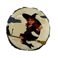 Witch Witchcraft Broomstick Broom Standard 15  Premium Round Cushions
