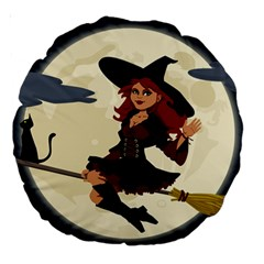 Witch Witchcraft Broomstick Broom Large 18  Premium Round Cushions