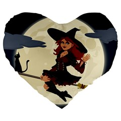 Witch Witchcraft Broomstick Broom Large 19  Premium Heart Shape Cushions