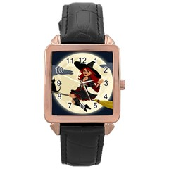 Witch Witchcraft Broomstick Broom Rose Gold Leather Watch