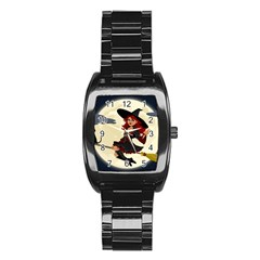 Witch Witchcraft Broomstick Broom Stainless Steel Barrel Watch