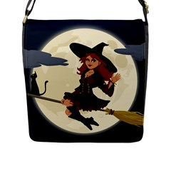 Witch Witchcraft Broomstick Broom Flap Messenger Bag (L)