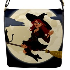Witch Witchcraft Broomstick Broom Flap Messenger Bag (S)