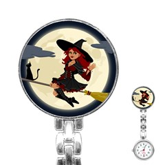 Witch Witchcraft Broomstick Broom Stainless Steel Nurses Watch