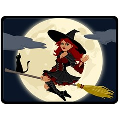 Witch Witchcraft Broomstick Broom Double Sided Fleece Blanket (Large)