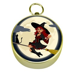 Witch Witchcraft Broomstick Broom Gold Compasses