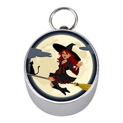 Witch Witchcraft Broomstick Broom Mini Silver Compasses