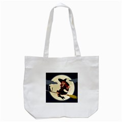 Witch Witchcraft Broomstick Broom Tote Bag (White)