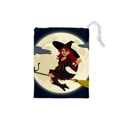 Witch Witchcraft Broomstick Broom Drawstring Pouches (Small)