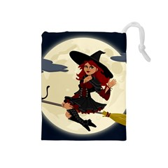 Witch Witchcraft Broomstick Broom Drawstring Pouches (Medium)