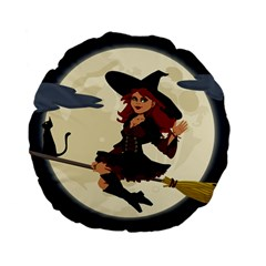 Witch Witchcraft Broomstick Broom Standard 15  Premium Flano Round Cushions
