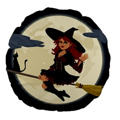 Witch Witchcraft Broomstick Broom Large 18  Premium Flano Round Cushions