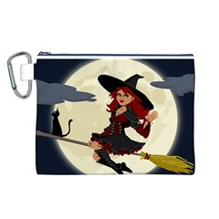 Witch Witchcraft Broomstick Broom Canvas Cosmetic Bag (L)