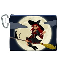 Witch Witchcraft Broomstick Broom Canvas Cosmetic Bag (XL)