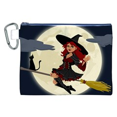Witch Witchcraft Broomstick Broom Canvas Cosmetic Bag (XXL)