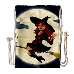 Witch Witchcraft Broomstick Broom Drawstring Bag (Large)
