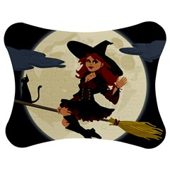 Witch Witchcraft Broomstick Broom Jigsaw Puzzle Photo Stand (Bow)