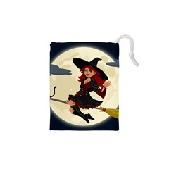 Witch Witchcraft Broomstick Broom Drawstring Pouches (XS)