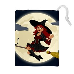 Witch Witchcraft Broomstick Broom Drawstring Pouches (Extra Large)