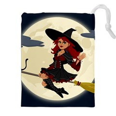 Witch Witchcraft Broomstick Broom Drawstring Pouches (XXL)