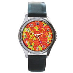 Orange design Round Metal Watch