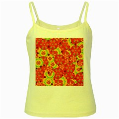 Orange design Yellow Spaghetti Tank