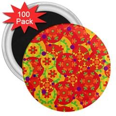 Orange design 3  Magnets (100 pack)