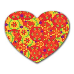 Orange design Heart Mousepads