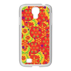 Orange design Samsung GALAXY S4 I9500/ I9505 Case (White)
