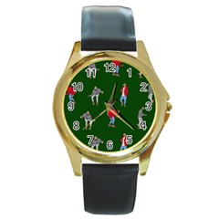 Drake Ugly Holiday Christmas 2 Round Gold Metal Watch