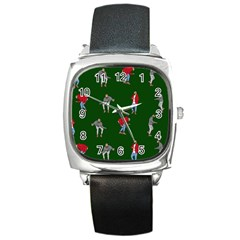 Drake Ugly Holiday Christmas 2 Square Metal Watch