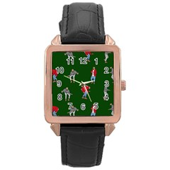 Drake Ugly Holiday Christmas 2 Rose Gold Leather Watch