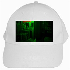 Green Building City Night White Cap