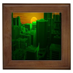 Green Building City Night Framed Tiles