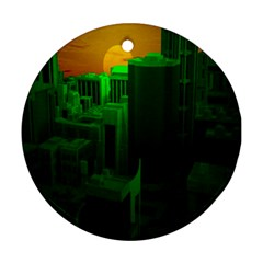 Green Building City Night Ornament (Round)