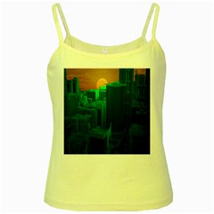 Green Building City Night Yellow Spaghetti Tank