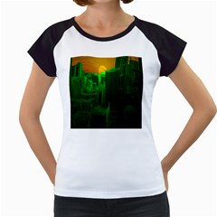 Green Building City Night Women s Cap Sleeve T