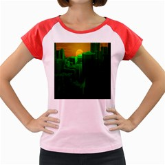 Green Building City Night Women s Cap Sleeve T-Shirt