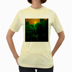 Green Building City Night Women s Yellow T-Shirt
