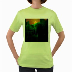 Green Building City Night Women s Green T-Shirt